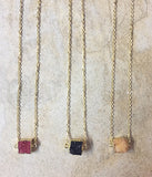 Square Druzy Stone Necklaces