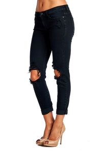 black distressed denim jeans pants