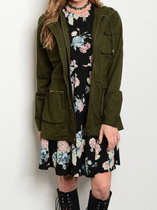 Olive Double Zipper Army Jacket