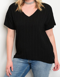 Wavy Ridge Black V-neck Curvy Top