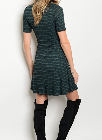 Nashville Nights Forest Green Striped Dress