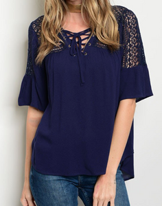 Navy Lace Up Top