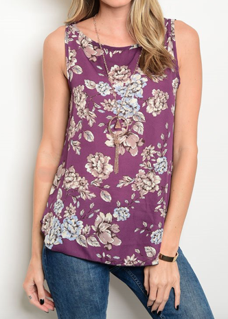 Purple Floral Tank Top
