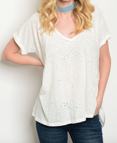 Ivory Distressed V-neck Top