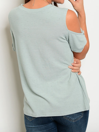 Sage Twisted Cold Shoulder Top