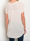 Peach Ivory Stripe Henley Top