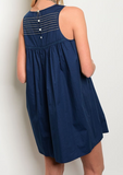 Maui Stitched Dress - Navy