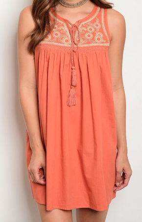 Maui Stitched Dress - Tangerine