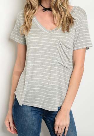 Gray Stripe Oversized Pocket Top