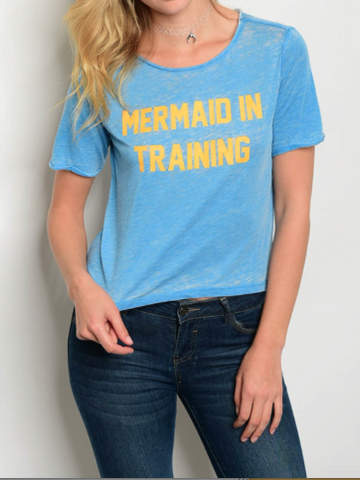 Mermaid In Training Graphic Tee Blue