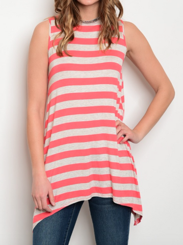 Coral Sun Stripes Top