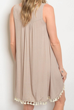 On Island Time Embroidered Dress Taupe