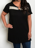 Cutout Curvy Tunic Top Black