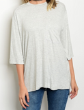 Sail On 3/4 Sleeve Top Gray