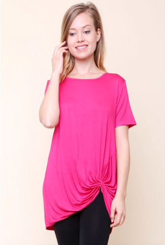 Knot Front Top - Fuchsia