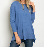 Indigo Ribbed Long Sleeve Top