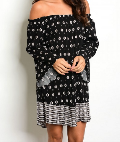 Life Of The Party Off Shoulder Dress - Black