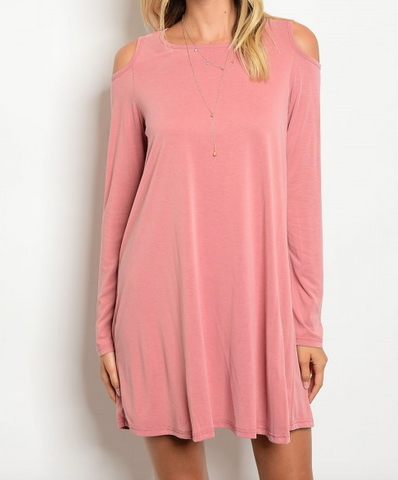 Dusty Pink Cold Shoulder Dress
