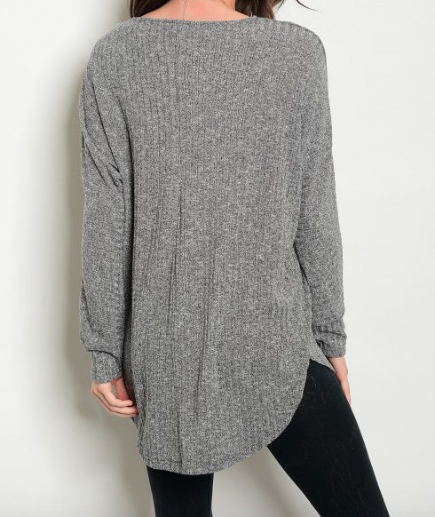 Vertical Ribbed Top - Gray
