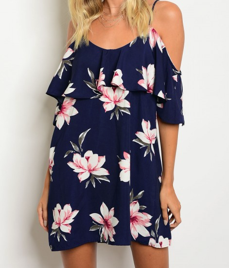 blue cold shoulder dress with flowers