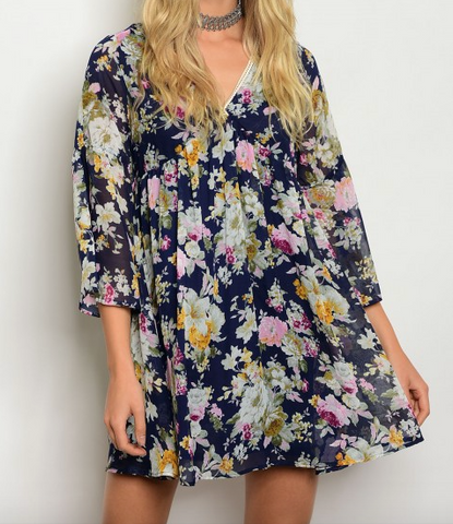 3/4 sleeve multi color floral print dress featuring with a v neck