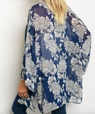Beautiful blue long sleeve kimono with muted gray floral print