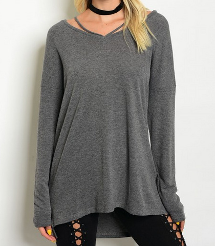 Long sleeve gray knit top with scoop neck