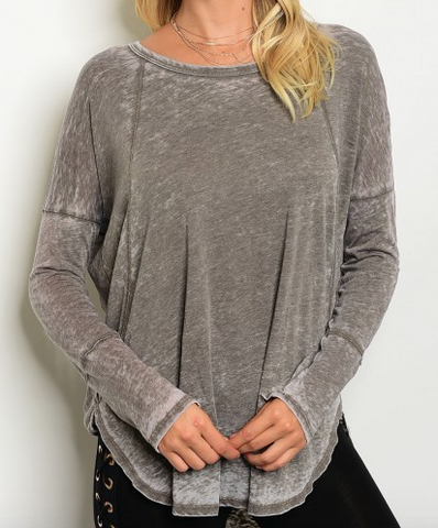 ultra soft and comfy distressed burnout long sleeve top