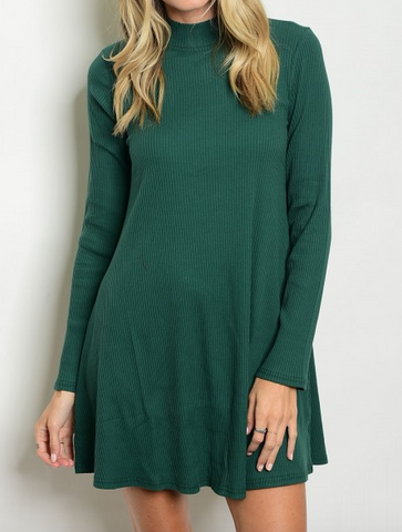 Hunter Green Ribbed Dress