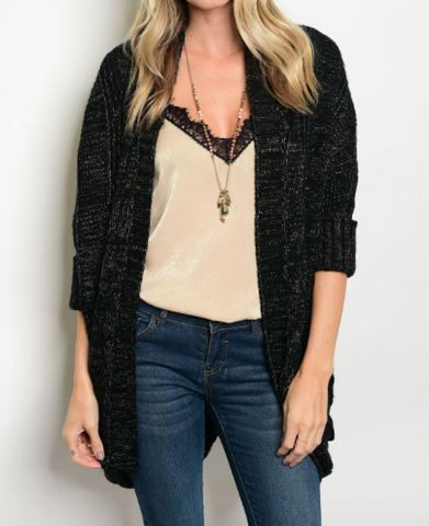 Gravity Speck Cardigan Black Gold