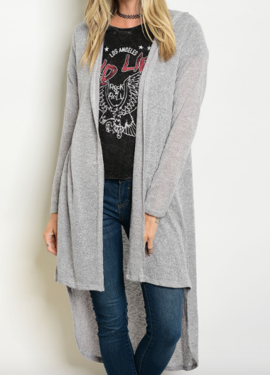 Hooded knit gray cardigan with a high low feature