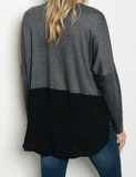 Long sleeve gray jersey knit relaxed top with a mock neck