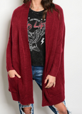 Long sleeve knit oversized cardigan with front pocket details