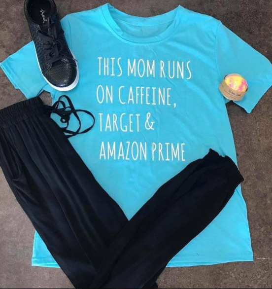 Caffeine Mom Graphic Tee - Blue