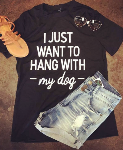 Hang With My Dog Graphic Tee - Black