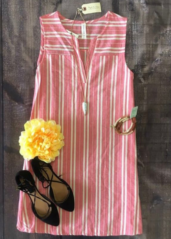 Coral Stripes Dress