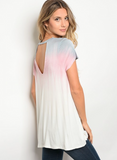 Short sleeve relaxed fit tie dye print boyfriend t-shirt with a v neckline.