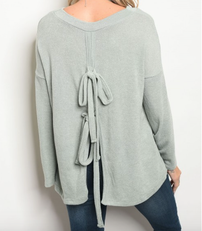 Slit Knot Back Top - Sage