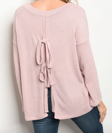 Slit Knot Back Top - Pink