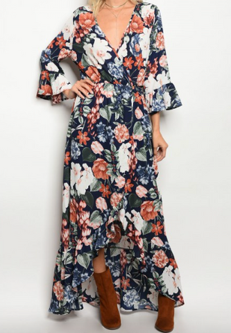 Tauren Floral Dress - Navy