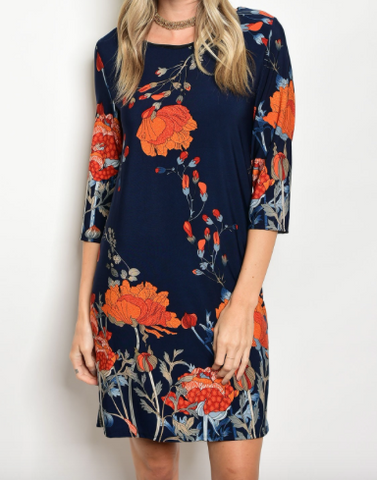 I'm A Wildflower Dress - Navy