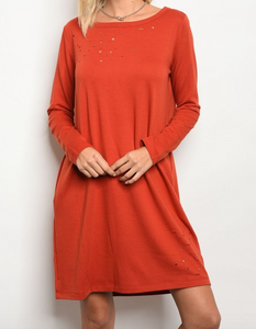 Nashville Distressed Dress With Pockets - Spice
