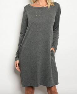 Nashville Distressed Dress With Pockets - Gray