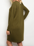 Nashville Distressed Dress With Pockets - Olive