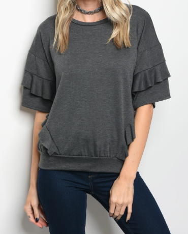 End Game Layer Sleeve Top - Gray