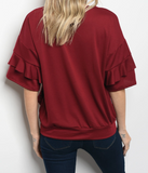 End Game Layer Sleeve Top - Wine