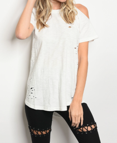 Short sleeve distressed WHITE t-shirt with a crew neckline and cold shoulders.