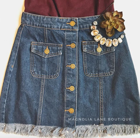 New Rules Button Denim Skirt