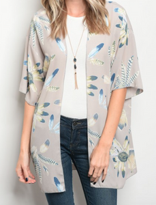 3/4 sleeve floral print light weight cardigan