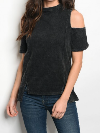 Cara Cold Shoulder Top - Black